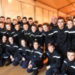 Des jeunes sapeurs-pompiers de l'Ardèche sur le plateau du Téléthon